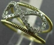 Estate Wide .30ct Round Diamond 14kt Yellow Gold 3d Classic Infinity Love Ring