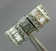 Antique Wide .77ct Diamond 14kt White Gold 3d Classic Anniversary Ring 12412