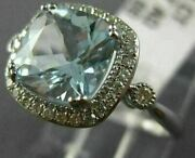 Estate 2.08ct Diamond And Aaa Aquamarine 14kt White Gold 3d Square Engagement Ring