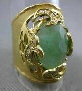 Antique Large 3.70ct Diamond And Green Agate 18kt Yellow Gold 3d Filigree Fun Ring