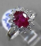 Estate Large 1.42ct Diamond And Aaa Ruby 18kt White Gold Oval Halo Engagement Ring