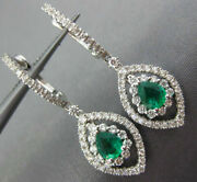Estate 1.07ct Diamond And Aaa Emerald 18k White Gold 3d Tear Drop Hanging Earrings