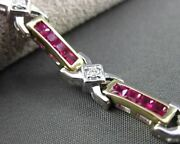 Estate Long 4.40ct Diamond And Aaa Ruby 14kt Two Tone Gold X Love Bracelet 23612