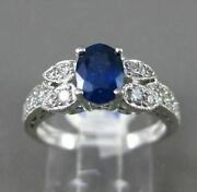 Estate 1.61ct Diamond And Aaa Sapphire 18kt White Gold 3d Filigree Engagement Ring
