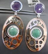 Estate Large .80ct Diamond And Multi Gem 14k White And Rose Gold Hanging Earrings