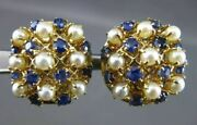 Antique 1.20ct Aaa Sapphire And Pearl 14kt Yellow Gold 3d Clip On Earrings 23442
