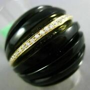 Estate Massive .30ct Diamond And Aaa Onyx 18kt Yellow Gold 3d Dome Multi Row Ring
