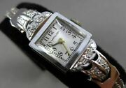 Antique Large And Long Old Mine Diamond 14k White Gold Hamilton Square Watch 23759