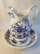 Vintage Blue And White W Flowers Porcelain Large Pitcher And Wash Basin Bowl Set Ns