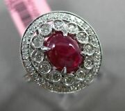 Antique Wide 2.91ct Diamond And Cabochon Ruby 18kt White Gold Oval Engagement Ring