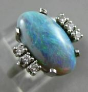 Antique Wide .16ct Round Diamond And Aaa Opal 14k White Gold 3d Classic Oval Ring