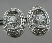 Estate Large 2.0ct Diamond 14kt White Gold Filigree Solitaire Oval Stud Earrings