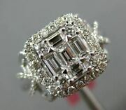 Estate Wide 1.0ct Round And Baguette Diamond 18kt White Gold Square Halo Love Ring