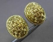 Estate Large .44ct Diamond 18kt Yellow Gold 3d Woven Halo Clip On Earrings