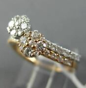 Estate Wide .84ct Diamond 18k White And Rose Gold 3d Flower Cluster Stackable Ring
