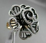 Estate .62ct Diamond 14kt White Black And Rose Gold 3d Handcrafted Flower Ring