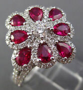 Estate Large 1.83ct Round Diamond And Aaa Ruby 18kt White Gold 3d Flower Love Ring