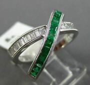 Estate Wide .99ct Diamond And Emerald 14kt Gold Infinity X Love Criss Cross Ring