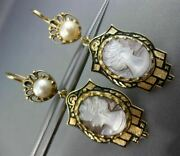 Estate Large Cameo Black Enamel And Pearl 14k Yellow Gold Victorian Earrings 25733