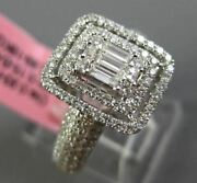 Large 1.08ct Round And Baguette Diamond18k White Gold 3d Double Halo Promise Ring