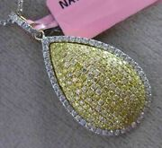 Estate 1.29ct White And Fancy Yellow Diamond 18kt Gold 3d Pear Shape Pendant Chain