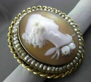 Antique 14kt Yellow Gold Handcrafted Pearl Victorian 3d Cameo Pin Brooch 24441