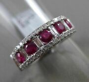 Estate Wide 1.38ct Diamond And Aaa Ruby 18k White Gold 3d 5 Stone Anniversary Ring