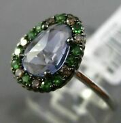Antique .24ct Diamond Emerald And Extra Facet Crystal 14kt White Gold Flower Ring