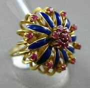 Antique Large 1.20ct Aaa Ruby 18kt Yellow Gold 3d Blue Enamel Open Flower Ring