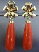 Estate Large Aaa Coral 14k Yellow Gold 3d Flower Clip On Hanging Earrings 25850