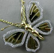 Estate Large .50ct Diamond 18kt White And Yellow Gold 3d Happy Butterfly Pendant