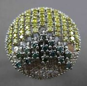 Antique Massive 3.52ctw Diamond And Alexandrite 14kt White Gold 3d Floating Ring
