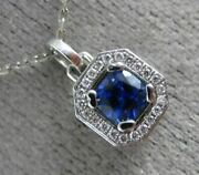Estate Small .63ct Diamond And Aaa Sapphire 18k White Gold 3d Octagon Halo Pendant