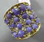 Estate Extra Large 10.57ct Diamond Purple Agate 14kt Gold Multi Row And Shape Ring