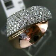 Estate Wide .74ct Diamond 14kt White And Rose Gold 3d Puffed X Love Ring 13mm Wide