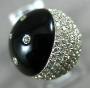 Estate Large 1.36ct Diamond And Aaa Onyx 14k White Gold 3d Etoile Moon And Star Ring
