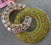 Estate 1.29ct Fancy Yellow Pink Diamond 18kt White And Rose Gold Love Knot Pendant