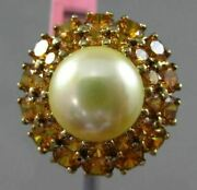 Antique Large 3.50ct Citrine And South Sea Pearl 14k Yellow Gold Classic Halo Ring
