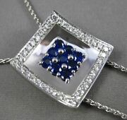 Estate Massive 1.75ctw Diamond And Aaa Sapphire 18kt White Gold 3d Lariat Necklace