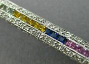 Estate 5.04ct Diamond And Aaa Multi Color Sapphire 14kt White Gold Tennis Bracelet