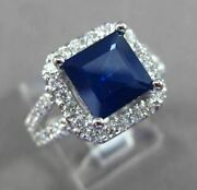 Estate Large 3.86ct Diamond And Aaa Sapphire 14k White Gold Square Halo Ring 23953