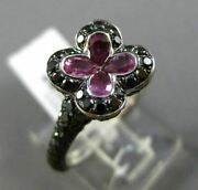 Estate Large 2.46ct Black Diamond And Sapphire 14kt White And Black Gold Flower Ring