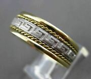 Estate Wide 14kt Two Tone Gold Handcrafted Greek Key Anniversary Ring 7mm 23580