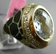 Antique Large 7.40ct Diamond And Amethyst 14kt Yellow Gold 3d Enamel Leopard Ring