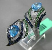 Antique Extra Large 2.90ct Diamond And Multi Gem 18kt White Gold Double Leaf Ring