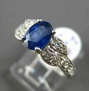 Antique 1.61ct Diamond Sapphire 18kt White Gold 3d Filigree Oval Engagement Ring