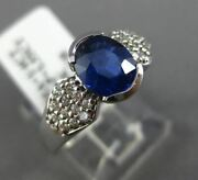 Estate 1.80ct Diamond And Sapphire 14kt White Gold Oval Semi Bezel Engagement Ring