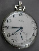Antique Elgin 14k White Gold Handcrafted Filigree Pocket Watch Early 1900 23960