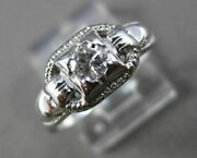 Antique .30ct Diamond 18kt White Gold Solitaire Filigree Engagement Ring 21512