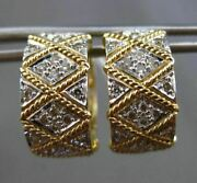Estate Large Wide .37ct Diamond 14k Two Tone Gold Checkers Heart Huggie Earrings